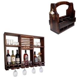 Bar Adega Rústico de Parede Art Madeira até 8 Garrafas + Cesta Porta Long Necks com Divisória