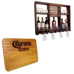 Bar Adega Rústico Parede Art Madeira até 8 Garrafas + Tábua de Madeira Corona Extra 24,5 x 17,5 cm
