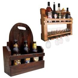 Bar de Parede Adega Art Madeira 5 Garrafas + Cesta Artesanal Porta Bebidas 3 Garrafas