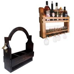 Bar de Parede Adega Art Madeira 5 Garrafas + Cesta Porta Cervejas Artesanais até 3 Garrafas