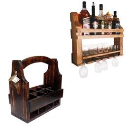 Bar de Parede Adega Art Madeira 5 Garrafas + Cesta Porta Long Necks com Divisória até 8 Garrafas