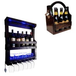 Bar de Parede Adega Art Madeira 5 Garrafas com LED + Cesta Porta Cervejas Long Necks até 6 Garrafas