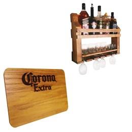 Bar de Parede Adega Art Madeira 5 Garrafas + Tábua de Madeira Corona Extra 24,5 x 17,5 cm