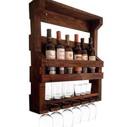 Bar de Parede Adega Art Madeira 6 Garrafas + Cesta Porta Long Necks com Divisória até 8 Garrafas