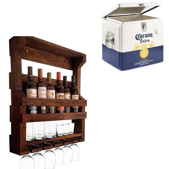 Bar de Parede Adega Art Madeira 6 Garrafas + Cooler Corona 15 Litros Caixa Térmica