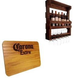Bar de Parede Adega Art Madeira 6 Garrafas + Tábua de Madeira Corona Extra 24,5 x 17,5 cm