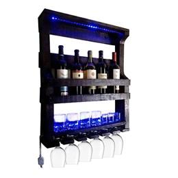 Bar de Parede Adega Art Madeira até 5 Garrafas com LED + Cesta Artesanal Porta Bebidas 3 Garrafas
