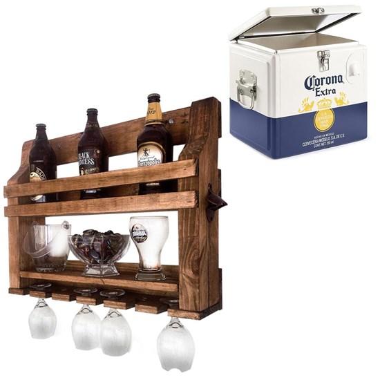Bar de Parede Art Madeira 5 Garrafas com Abridor de Garrafa + Caixa Térmica Cooler Corona 15 Litros