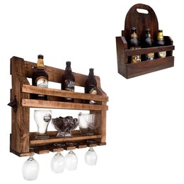 Bar de Parede Art Madeira com Porta Copo e Abridor + Cesta Artesanal Porta Bebidas 3 Garrafas