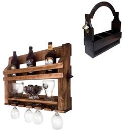 Bar de Parede Art Madeira com Porta Copo e Abridor + Cesta Porta Cervejas Artesanais até 3 Garrafas