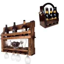 Bar de Parede Art Madeira com Porta Copo e Abridor + Cesta Porta Cervejas Long Necks até 6 Garrafas