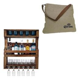 Bar de Parede Art Madeira para 5 Garrafas + Bolsa Corona Bag Multiuso com 2 Bolsos Externos