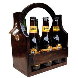 Bar de Parede Art Madeira para 5 Garrafas + Cesta Porta Cervejas Long Necks até 6 Garrafas