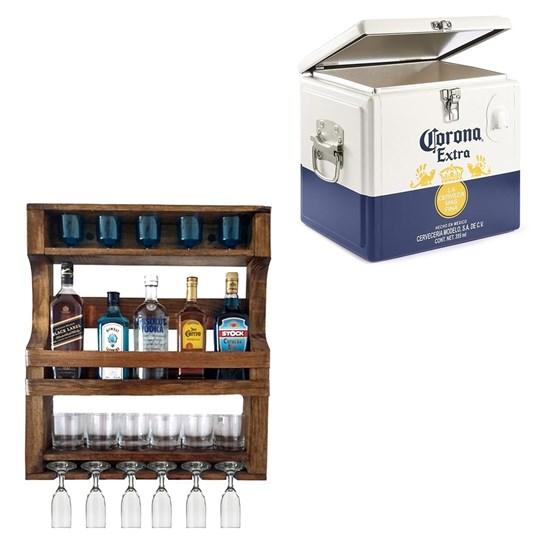 Bar de Parede Art Madeira para 5 Garrafas + Cooler Corona 15 Litros Caixa Térmica até 12 Cervejas