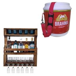 Bar de Parede Art Madeira para 5 Garrafas + Cooler Térmico Brahma Brasil 20 Litros 12 Latas
