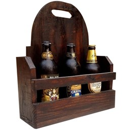 Bar de Parede Art Madeira para 5 Garrafas Porta Taças + Cesta Artesanal Porta Bebidas 3 Garrafas