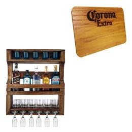 Bar de Parede Art Madeira para 5 Garrafas + Tábua de Madeira Corona Extra 24,5 x 17,5 cm