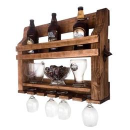 Bar de Parede Art Madeira Porta Copo Abridor Garrafa + Tábua de Madeira Corona Extra 24,5 x 17,5 cm