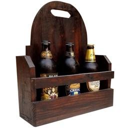 Bar de Parede Art Madeira Rústico 8 Garrafas 2 Andares + Cesta Artesanal Porta Bebidas 3 Garrafas