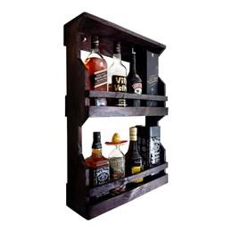 Bar de Parede Art Madeira Rústico 8 Garrafas 2 Andares + Cesta Porta Cervejas Artesanais 3 Garrafas