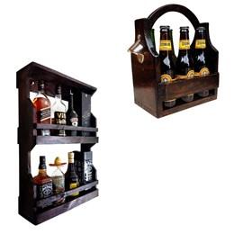 Bar de Parede Art Madeira Rústico 8 Garrafas 2 Andares + Cesta Porta Cervejas Long Necks 6 Garrafas