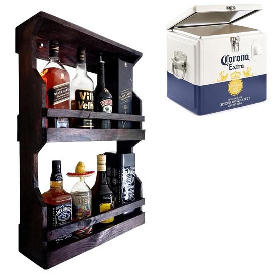 Bar de Parede Art Madeira Rústico 8 Garrafas 2 Andares + Cooler Corona 15 Litros Caixa Térmica