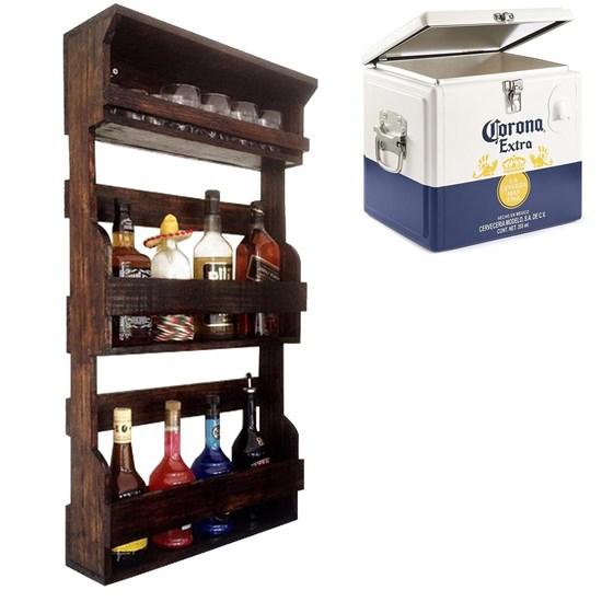 Bar de Parede Rústico Art Madeira até 8 Garrafas + Caixa Térmica Cooler Corona 15 Litros