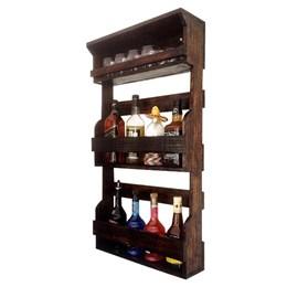 Bar de Parede Rústico Art Madeira até 8 Garrafas + Cesta Porta Cervejas Artesanais até 3 Garrafas