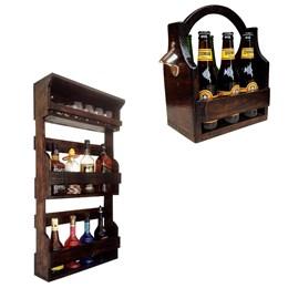 Bar de Parede Rústico Art Madeira até 8 Garrafas + Cesta Porta Cervejas Long Necks até 6 Garrafas