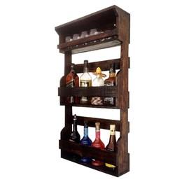 Bar de Parede Rústico Art Madeira até 8 Garrafas com Porta Copos