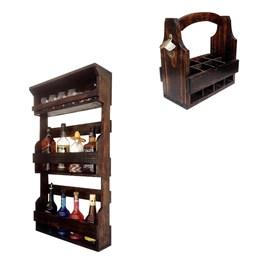 Bar Parede Rústico Art Madeira até 8 Garrafas + Cesta Porta Long Necks com Divisória até 8 Garrafas