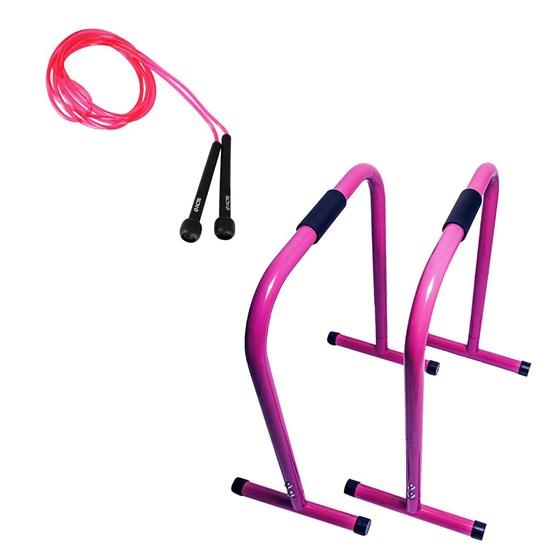 Barra Paralela Equalizer ACTE Funcional + Corda de Pular 2,75m Rosa