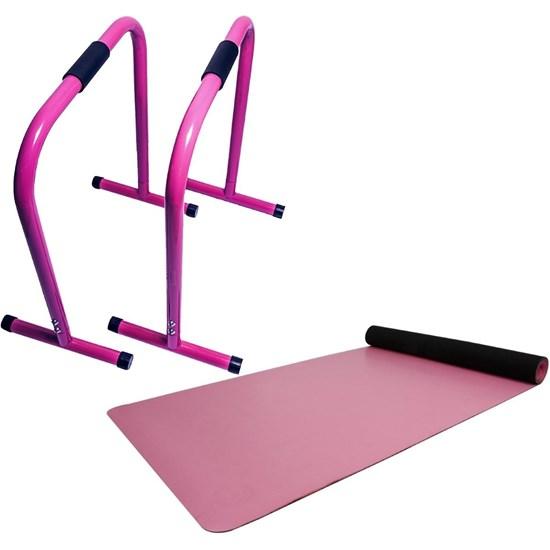 Barra Paralela Equalizer ACTE Funcional + Tapete para Yoga Pilates Eco Hopuyoga Rosa