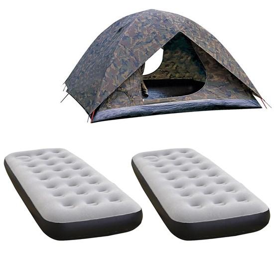 Barraca Camping Amazon 4P + 2 Colchões Infláveis Nautika Fit Ecologic Solteiro