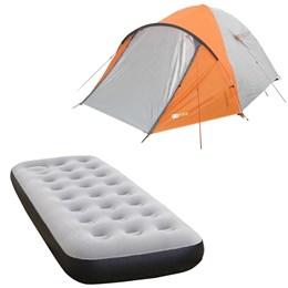 Barraca Camping Azteq Katmandu 3/4 Pessoas + Colchão Solteiro Inflável Fit Ecologic