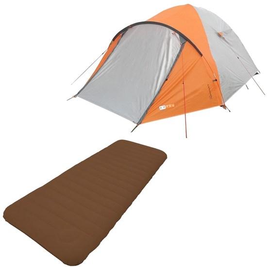 Barraca Camping Azteq Katmandu 3/4 Pessoas + Colchão Solteiro Inflavel Soft Sleep Guepardo