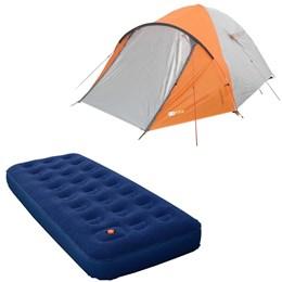 Barraca Camping Azteq Katmandu 3/4 Pessoas + Colchão Solteiro Inflável Zenite