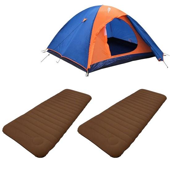 Barraca Camping Falcon 4P + 2 Colchões Infláveis Solteiro Soft Sleep Guepardo