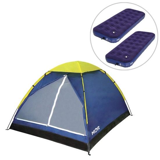 Barraca Camping Iglu até 4 Pessoas + 2 Colchões Infláveis de Solteiro com Inflador - Mor