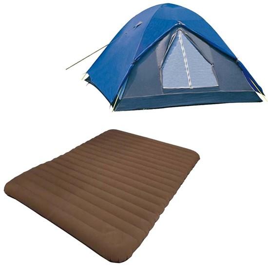 Barraca Camping Iglu Fox 3 P Nautika 155300 + Colchão Inflavel Casal Soft Sleep Guepardo SC0501