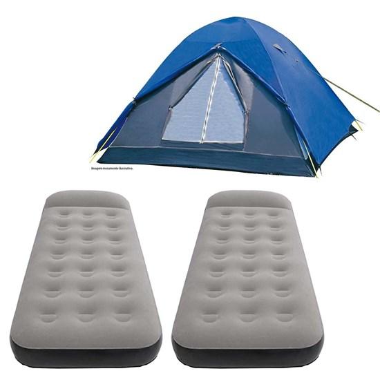 Barraca Camping Iglu Fox 6 Pessoas + 2 Colchões Infláveis Solteiro Star Nautika