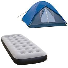 Barraca Camping Iglu Fox 6 Pessoas Nautika + Colchão Inflável Fit Ecologic Solteiro com Inflador