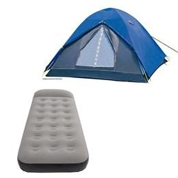 Barraca Camping Iglu Fox 6 Pessoas Nautika + Colchão Inflável Solteiro Aveludado Star