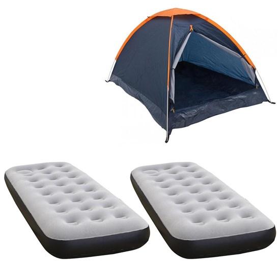 Barraca Camping Iglu Nautika Panda 3 Pessoas + 2 Colchões Infláveis Solteiro com Inflador Fit Ecologic