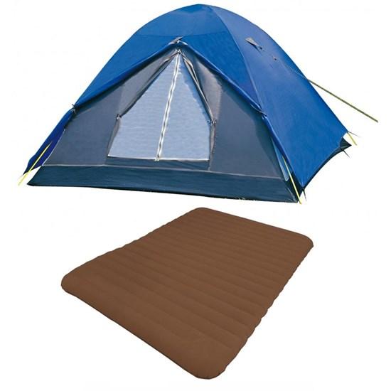Barraca Camping Nautika Fox 8 Pessoas + Colchão Casal Inflavel Soft Sleep Guepardo