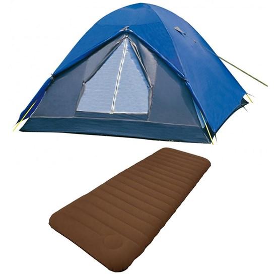 Barraca Camping Nautika Fox 8 Pessoas + Colchão Solteiro Inflavel Soft Sleep Guepardo