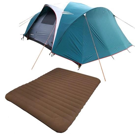 Barraca Camping Nautika Laredo até 9 Pessoas + Colchão Casal Inflavel Soft Sleep Guepardo