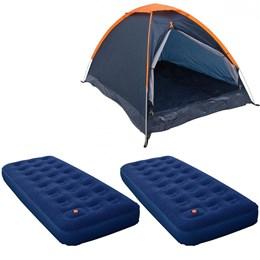 Barraca Camping Nautika Panda 4 Pessoas + 2 Colchões Infláveis Solteiro Zenite