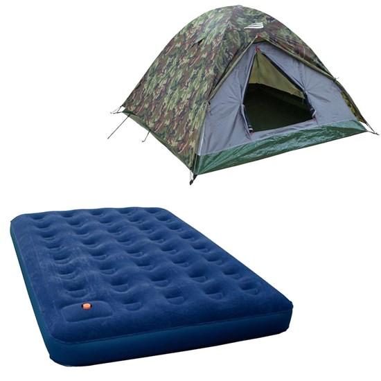 Barraca Camping Selvas 4P Nautika + Colchão Inflável Zenite Com Inflador Casal