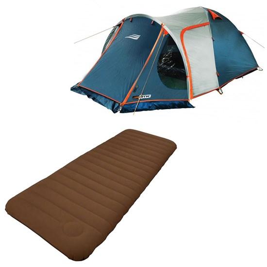 Barraca Camping Tipo Iglu Indy 4P Nautika 152450 + Colchão Inflavel Solteiro Soft Sleep Guepardo